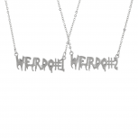 SilverTone Weirdo 1 2 BFF Best Friends Forever Necklace Set 2PC