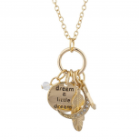 Gold Tone Dream a Little Dream Celestial Cluster Charm Necklace
