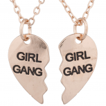 Gold Tone Girl Gang Broken Heart BFF Best Friends Necklace Set