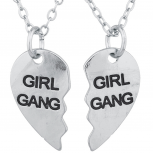 Silver Tone Girl Gang Broken Heart BFF Best Friends Necklace Set