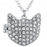 Silver Tone Crystal Pave Rhinestone Kitty Cat Locket Necklace