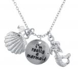Silver Tone I'm Really A Mermaid Seashell Bead Charm Necklace