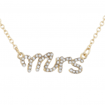 Gold Tone Crystal Rhinestone Mrs. Wife Wedding Gift Necklace