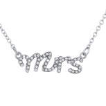 Silver Tone Crystal Rhinestone Mrs. Wife Wedding Gift Necklace