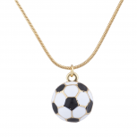 Gold Tone Soccer Ball Soccer Mom Sports Novelty Pendant Necklace