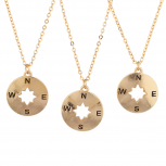 Gold Tone Compass BFF Best Friend Charm Pendant Necklace Set 3PC