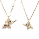 Gold Tone Big Sis Lil Sis Elephant Novelty Necklace Set 2PC
