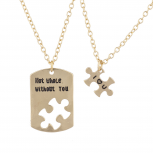 GoldTone Not Whole Without You BFF Puzzle Charm Necklace Set 2PC