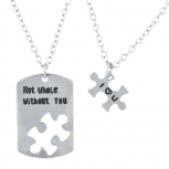 SilverTone Not Whole Without You BFF Puzzle Necklace Set 2PC
