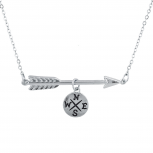 SilverTone Compass Arrow Direction Travel Charm Pendant Necklace