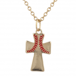 Gold Tone Baseball Wide Red Cross Charm Pendant Necklace