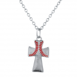 Silver Tone Baseball Wide Red Cross Charm Pendant Necklace
