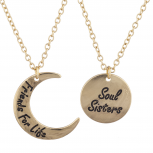 GoldTone Friends 4 Life Soul Sisters Celestial Necklace Set 2PC