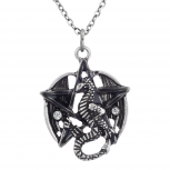 Burnish Silver Tone Dragon Pentagram Charm Pendant Necklace