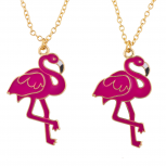 Gold Tone Pink Enamel Flamingo BFF Best Friends Necklace Set 2PC
