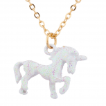 Gold Tone White Glitter Unicorn Novelty Charm Pendant Necklace