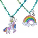 Rainbow Unicorn Bff Best Friends Necklace Set for Girls 2PC
