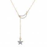 Gold Tone Crystal Rhinestone Celestial Moon Star Lariat Necklace