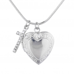Silver Tone Religious Communion Heart Cross Locket Necklace