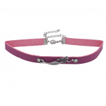 Pink burnished Silver Tone Mermaid Sea Life Faux Leather Choker