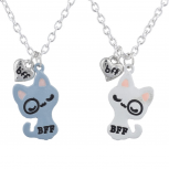 Silvertone White Pink Kitty Cat BFF Best Friends Necklace Set