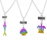 SilverTone MultiRainbow Seashell Turtle Mermaid BFF Necklace Set