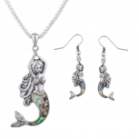 Burnished Silver Faux Abalone Shell Mermaid Necklace Earring Set