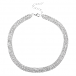 Silver Tone Bridal Wedding Multirow Rhinestone Collar Necklace