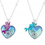 Fish Scale Rainbow Mermaid BFF Best Friends Necklace Set 2PC