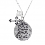 Burnish SilverTone She Clothed with Strength Dignity Necklace
