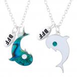 SilverTone Dolphin Yin Yang BFF Best Pendant Necklace Set 2