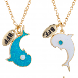 GoldTone Dolphin Yin Yang BFF Best Friend Pendant Necklace Set 2