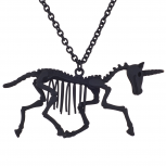 Matte Black Tone Skeleton Unicorn Novelty Pendant Necklace