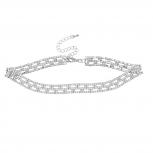 Silver Tone Faux Crystal Rhinestone Choker Necklace