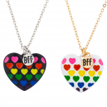 Multicolor Enamel Heart BFF Best Friends Charm Necklace Set 2PC
