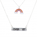 Silver Tone Rainbow Over It Novelty Layered Charm Necklace