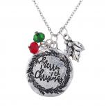 burnished SilverTone Christmas Holiday Charm Pendant Necklace