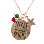 GoldTone Christmas Merry Bright Cluster Charm Pendant Necklace