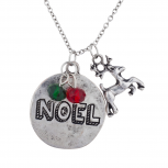 burnished SilverTone Christmas Xmas Noel Charm Pendant Necklace
