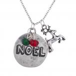 burnished SilverTone Christmas Xmas Noel Charm Pendant Necklace