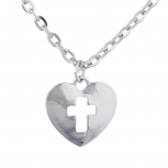 Silver Tone Heart cut out Cross Religious Charm Pendant Necklace