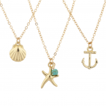 Gold Tone Nautical Sea Life Charm Pendant Necklace Set 3PC