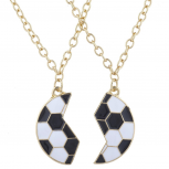 Gold Tone Black White Enamel Broken Soccer Ball BFF Necklace Set