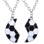 Silver Tone Black White Enamel Broken Soccer Ball Necklace Set