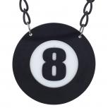 Black White Eight 8 Ball Pool Halloween Large Pendant Necklace