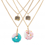 Gold Tone Rainbow Doughnut BFF Best Friends Necklace Set 2PC