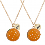 Hamburger Fast Food Novelty BFF Best Friends Necklace Set 2PC