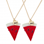 Silver Tone Watermelon Novelty BFF Best Friends Necklace Set 2PC
