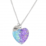 GoldTone Rainbow Glitter Heart BFF Best Friends Necklace Set 2PC
