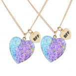 Silver Tone Blue Glitter Heart BFF Best Friends Necklace Set 2PC